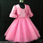 Hot Pink Christening Party Cardigan + Flower Girls Dress SET SIZE 2T,4,6T,8T,10T