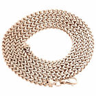 Real 10K Rose Gold 3D Hollow Franco Box Link Chain 4.25mm Necklace 22-30 Inches