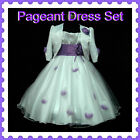 Purple White Christening Party Flower Girls Dresses + Cardigan SET SIZE 2,3,4,5Y
