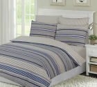Dalton Stripe Blue Cosy Flannelette 100% Brushed Cotton / Complete Sheet Set