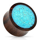 Pair Crushed Turquoise Wood Saddle Plugs Gauges Earrings