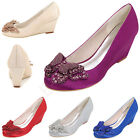 Wedge Mid Heels Round Toe Women Pumps Satin Crystal Wedding Party Shoes Bridal
