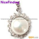 Freshwater Pearl Necklace Pendant Gold Plated Rhinestone Jewelry For Women Gift