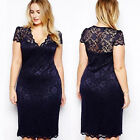 New Women Lace Short Sleeve Party Cocktail Evening Bodycon Prom Mini Dress M-4XL