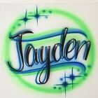 Airbrushed T-Shirt Personalized Name Design size S M L XL 2X Airbrush Shirt