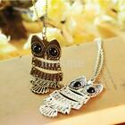 Women Fashion Vintage Bronze/Silver Owl Long Chain Necklace Pendant Jewelry