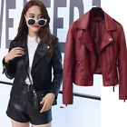 New Womens PU Leather Casual Punk Motorcycle Coats Zipper Jackets Slim Outwear