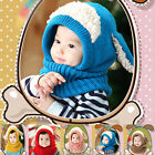 New Warm Hat Winter Hood Scarf Cute Baby Toddler Girls Boys Earflap Knitted Cap