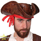 WHOLESALE BROWN LEATHER LOOK CARIBBEAN PIRATE HAT ADULTS FANCY DRESS TRICORN