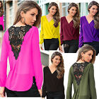 Fashion Women Ladies Chiffon Lace Crochet Long Sleeve Shirt Casual Blouse Tops*
