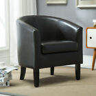 Club Chair Tub Faux Leather Armchair Seat Accent Living, Black / Brown / White