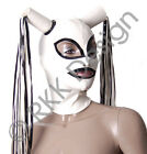 PREMIUM QUALITY - White & Black Latex Rubber Hood Mask 2 Pony Tails S-L