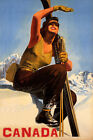 CANADA SKI MOUNTAINS SUNNY DAY WINTER SPORT WOMAN SKIING VINTAGE POSTER REPRO