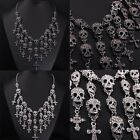 Vintage Silver/Black Skeleton Skull Head Pendant Crystal Bib Necklace Jewelry
