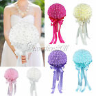 Wedding Bride Bouquet Artificial Rose Flowers Rhinestone Party Favors Decoration