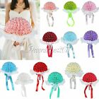 Artificial Rolse Flowers Bouquet  Lace Pearls Bridal Bridesmaid Wedding Supplies