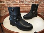 Clarks Black Leather Buckle Merrian Lynn Moto Ankle Boots NEW