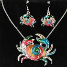 Gold Silver Crab Brachyura Necklace Earrrings Jewelry Sets Party Wedding Gift