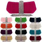 Diamante Crystal Rouched Satin Evening Party Bridal Small Clutch Hand Bag  Women