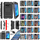 For Samsung Galaxy J1 J120 Holster Clip Stand Dual Armor Case + Tempered Glass