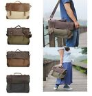 Mens Vintage Retro Canvas Leather Shoulder/Messenger Briefcase Handbag Satchel