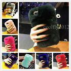 Luxury Fuzzy Rabbit Fur Plush Bling Girl's Warm 3D Case Cover For Verious Phones