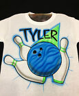 Airbrush Bowling Ball & Pins Personalized with Name size S M L XL 2X  Shirt