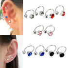 2 Pcs Crystal Ear Cuff U Shape Wrap Earrings No Piercing Rhinestone Ear Clip New