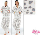 New Ladies Heart Fluffy Twosie Pyjamas White Grey Pink Size 8-10 12-14 16-18