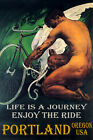 PORTLAND OREGON CYCLING BICYCLE WINGS ENJOY BIKE RIDE LGBT VINTAGE POSTER REPRO