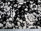 Discount Fabric Printed Lycra Spandex Stretch Black White Large Rose Floral G300