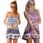 Womens Summer Blue Floral Cocktail Party Evening Mini Braces Sleeveless Dress