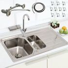 SINGLE & 1.5 BOWL STAINLESS STEEL KITCHEN SINK DRAINER PLUMBING KIT + TAPS WASTE