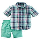 Carter's 2 Piece Green/Black Plaid Button Down Shirt with Green Short Set