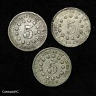 1867, 1869, 1869 5C Shield Nickel 3 Coin Lot - F/VF