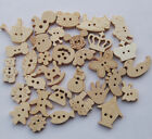 50/100/500pcs Cartoon Wooden Wood Buttons Sewing Appliques Kid's DIY Lots