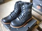 NEW Harley Davidson Womens Leather Logger Boots Shoes Medium Black Tyson
