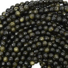 "Faceted Black Gold Obsidian Round Beads Gemstone 14.5"" Strand 6mm 8mm 10mm 12mm"