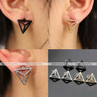 Simple Trendy 3 Colors Geometric Triangle Alloy Ear Stud Cuff Earrings Jewelry