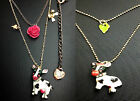 N328 Betsey Johnson Animal Farm Cow Cattle Milk Cow Dot Rose Leaf Necklace US