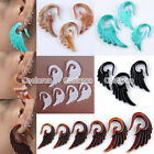 Gauge Punk Acrylic Angel Wing Spiral Taper Ear Plugs Expander Stretcher Pair