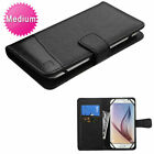 Universal MyJacket Wallet Slim Flap Case ID Card Slots Black For Cell Phones (Htc Desire 510 Flap Case)