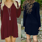 Autumn Winter Women V-Neck Casual Long Sleeve Evening Party Short Mini Dress