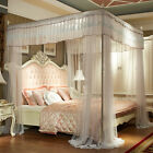 Luxury bed canopy curtain valance lace stainless steel frame bed nets queen king image