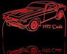 """1972 Barracuda Edge Lit 11-13"""" Lighted Sign LED Plaque 72 VVD7 Made in USA"""