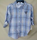 GUESS 100% Cotton Navy Check Roll Sleeve Button Front Shirt BIG BOY SIZES NWT