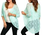 Aqua Mint Mesh Lace 1/2 Sleeve Open Front Shrug/Cover-Up Tunic Cardigan