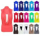Ladies Gathered Cowl Neck Sleeveless Contrast Summer Vest Tops Plus Size Dress