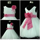 Easter Pink White Wedding Party Bridesmaid Flower Girls Dresses SIZE 1 - 14Years