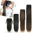 18inch Wrap On Human Hair Piece Clip in Blonde Ponytail Straight Hair Extension